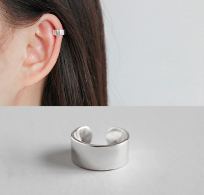 $9.48 • Buy Unisex S925 Sterling Silver Plain High Polished Clip On Ear Cuff One Piece