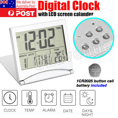 AU9.98 • Buy LCD Digital Silver Wall Clock / Table Clock W/ Calendar Temperature Alarm Clock