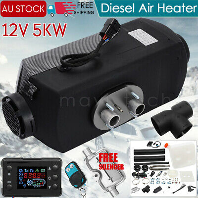 AU137.99 • Buy 12V 5KW Diesel Air Heater Tank Vent Duct Thermostat Caravan Motor RV W/ Silencer