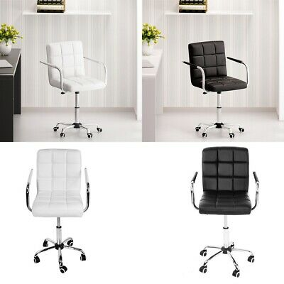 Swivel Office Chair PU Leather Home Computer Desk Stool Living Room Arm Chairs • 37.99£