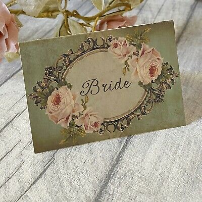 £3.50 • Buy Wedding Table Guest Place Name Cards - Vintage Style - Set Of 10