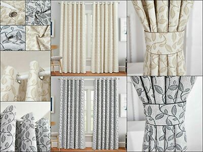 Luxury Miami Heavy Jacquard Eyelet Ring Top Fully Lined Ready Made Curtains New • 30.99£