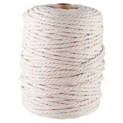 AU45 • Buy Natural 4mm Macrame 3 Strand Rope 1kg 180m Coloured String Ply Cotton Cord Beige