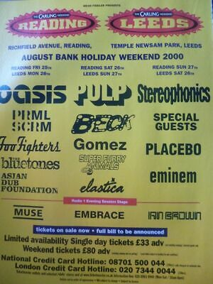 Reading/Leeds 2000 (Oasis Pulp Stereophonics Foo Fighters) -- A4 Press Poster • 7.99£