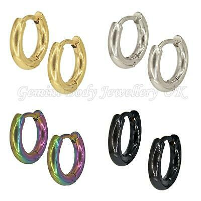 1 Pair Titanium Plated Surgical Steel Huggie Hoop Earrings Gauge 1mm Will Fit St • 2.99£