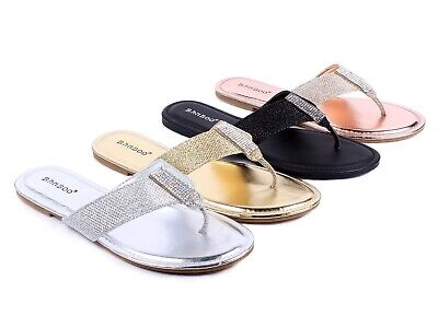 £10.89 • Buy 4 Color Casual Slip On Only Sparkle T-String Stylish Womens Flip Flops Sandals