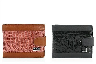 Men's Croc Effect Bifold Coins Money Photo ID Wallet Button Pouch Purse Bag 022C • 6.99£