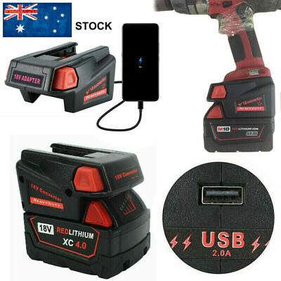 AU48.39 • Buy For Milwaukee M18 18V一V18 Li Battery +USB Phone Charger Converter Adapter New AU