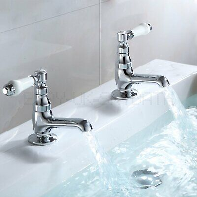 Basin Sink Taps Ceramic Lever Victorian Traditional Hot & Cold Tap Pair Chrome • 29.88£