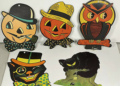$ CDN52.83 • Buy Vintage Luhrs Halloween  Die-Cut  Decorations 1960s-70s Lot Of 4 + 1 Hallmark