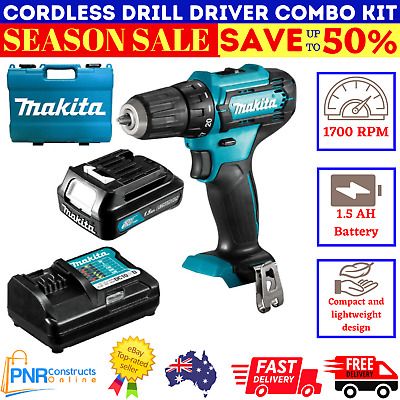 AU135.97 • Buy New Makita Cordless Drill Driver Power Tool Combo Kit With Charger Battery Set