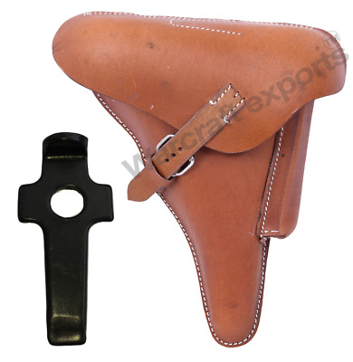 WWII GERMAN LUGER P08 Hardshell BROWN HOLSTER WITH TAKE DOWN TOOLS • 29.99£