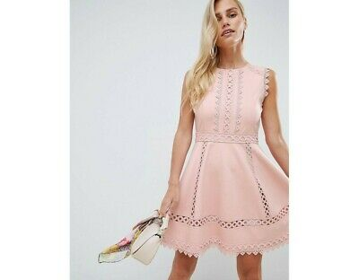 AU49.95 • Buy FOREVER NEW Marla Lace Trim Dress Pink Size 6 RRP $119.99
