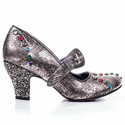Irregular Choice 'Buckle Down' (C) Pewter Mid Heel Jewel And Buckle Shoes • 40.49£