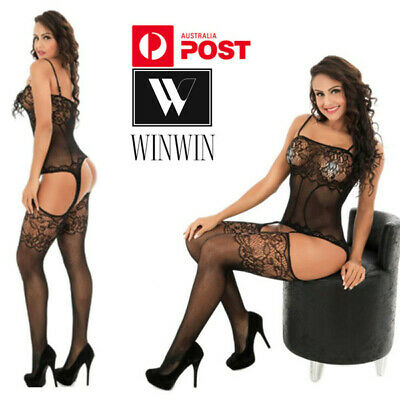 AU8.95 • Buy Women Lace Sexy Lingerie Open Crotchless Embroidery Nightwear Leotard Stockings