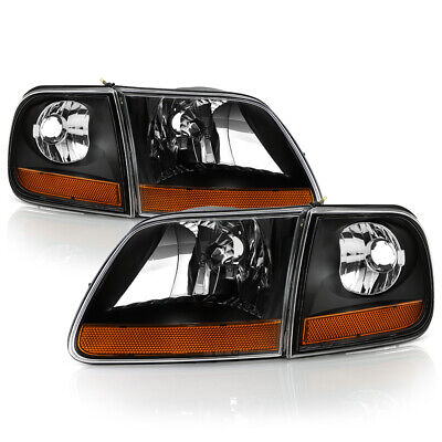 $113.95 • Buy 97-03 Ford F150 Black Replacement Headlights W/Corner Lamp Harley Davidson Style
