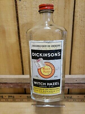 $22.20 • Buy Vintage Dickinson's Witch Hazel 1 Pt Glass Bottle W/Lid Advertising Collectible