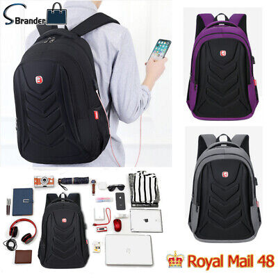 Swiss 15.6  Laptop EVA Protect Shell  Backpack Travel School Bag USB Charge Port • 14.99£
