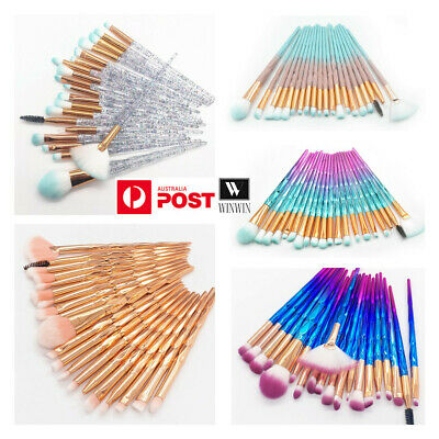 AU9.95 • Buy 20PCS Eye Make-up Brushes Diamond Unicorn Eyeshadow Eyebrow Blending Brush Set