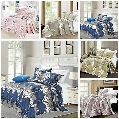 £29.95 • Buy 3 Piece Patchwork Quilted Bedspread Bed Throw With Pillow Shams Double King Size