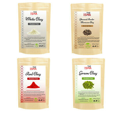 THEISMA Moroccan Clay Powder Facial Masks 100% Natural Green White Red Rhassoul  • 5.99£
