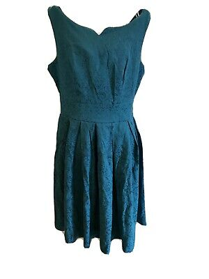 Lindy Bop~ Eva Rae Teal Jacquard Two Piece Suit - Dress And Jacket 12 ~ BNWT • 9.99£