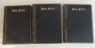 Vintage Three Volume Leather Holy Bible Set C1877 Eyre & Spottiswoode  • 29.99£