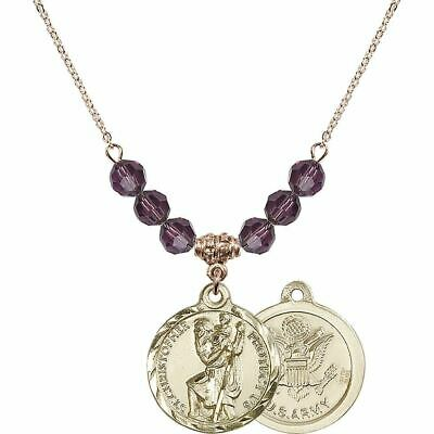 6mm St. Christopher / Army Birthstone Necklace • 142.27£