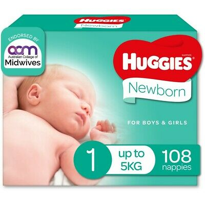 AU30 • Buy Huggies Newborn Nappies Size 1 (up To 5kg) 108 Pack (Jumbo)