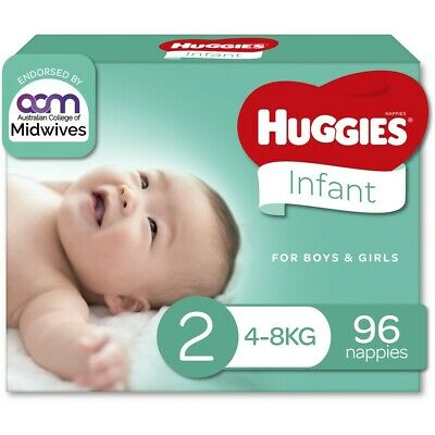 AU30 • Buy Huggies Infant Nappies Size 2 (4-8kg) - 96 Pack