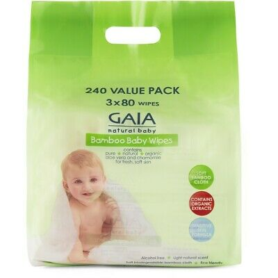 AU14 • Buy Gaia Natural Baby Bamboo Wipes 240 Pack