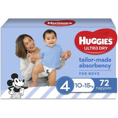 AU30 • Buy Huggies Ultra Dry Jumbo Nappies Size 4 Toddler Boy (10-15kg) - 72 Pack