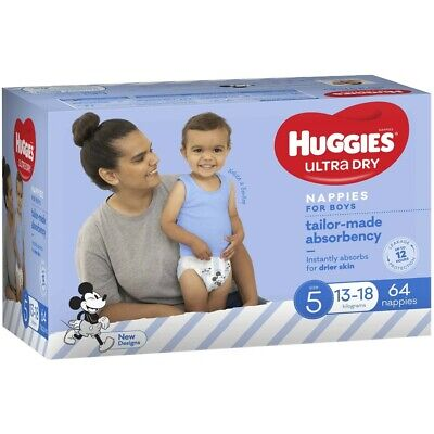 AU30 • Buy Huggies Jumbo Nappies Size 5 Walker Boy (13-18kg) - 64 Pack