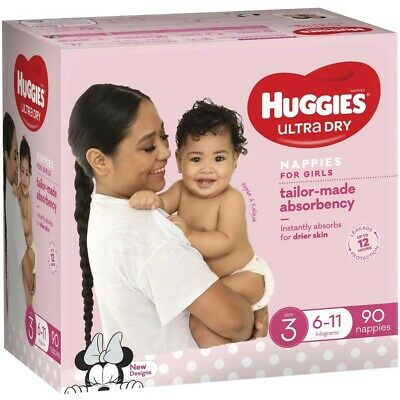 AU30 • Buy Huggies Jumbo Nappies Size 3 Crawler Girl (6-11kg) - 90 Pack