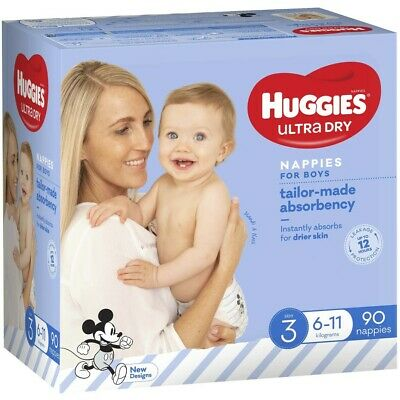 AU30 • Buy Huggies Jumbo Nappies Size 3 Crawler Boy (6-11kg) - 90 Pack