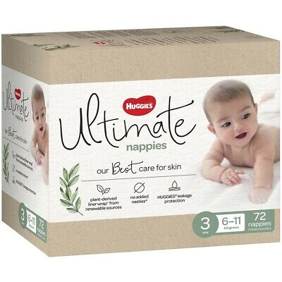 AU30 • Buy Huggies Ultimate Nappies Size 3 Unisex (6-11kg) - 72 Pack