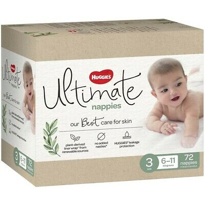 AU30 • Buy Huggies Ultimate Nappies Unisex Size 3 (6-11kg) 72 Pack