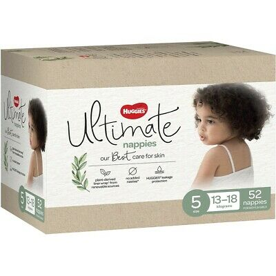 AU30 • Buy Huggies Ultimate Nappies Size 5 Unisex (13-18kg) - 52 Pack