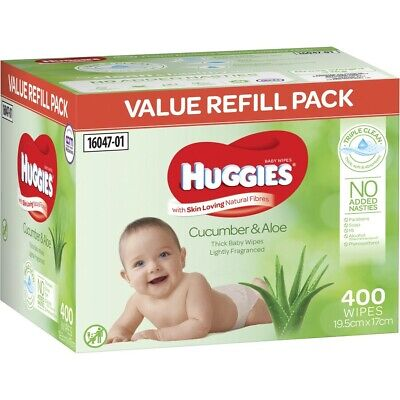 AU15 • Buy Huggies Thick & Soft Baby Wipes Cucumber & Aloe 400 Pack