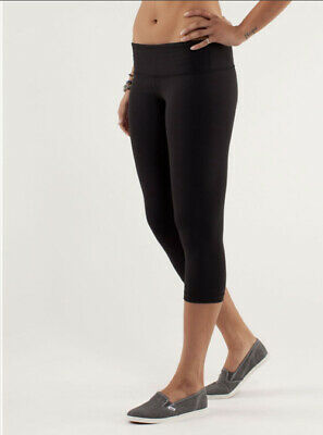 $ CDN60 • Buy LULULEMON ATHLETICA Black Luon WUNDER UNDER CROP PANTS/ Tights 6 SMALL
