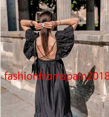 $73.39 • Buy Zara New Woman Long Dress With Cutwork Embroidery Ruffle Black Xs-xxl 7200/107