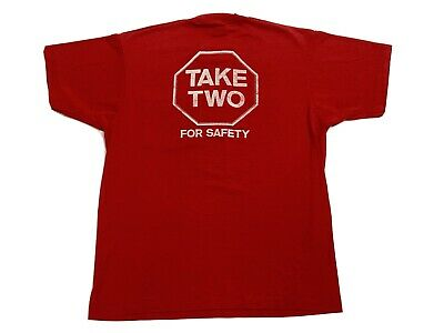 Vintage 80s Red Pocket Tee Stop Sign Take Two Safety T-shirt Single Stitch RARE • 14.30£
