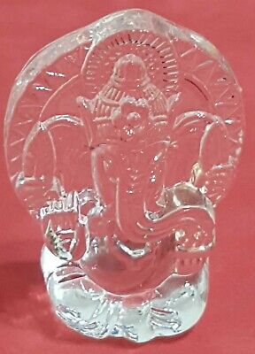 CRYSTAL Ganesh Ganesha Idol Chandra Nadi Puja Pooja Room Gajanan CAR HOME OFFICE • 8.99£