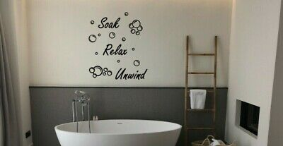 Bathroom Soak Relax Unwind Wall Quote With Bubbles Living Room Wall Art Stickers • 4.99£