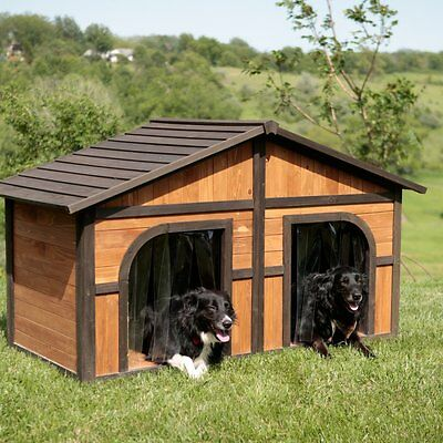 $484.44 • Buy Double Door Dog House Outdoor  Extra Large Dogs Wood Pet Shelter XL Duplex