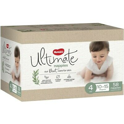 AU30 • Buy Huggies Ultimate Nappies Unisex Size 4 (10-15kg) 58 Pack