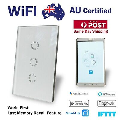 AU57.80 • Buy Smart WIFI Wall Light Switch Touch Home Automation 3 Gang Google, Alexa, Tuya
