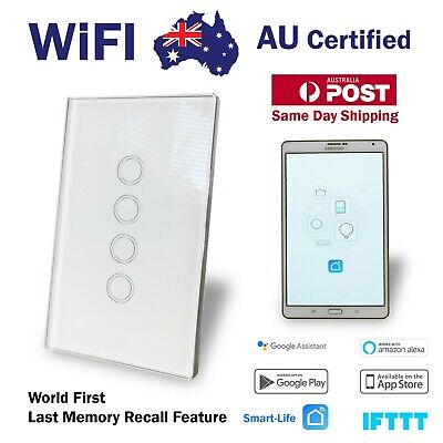 AU59.90 • Buy Smart WIFI Wall Light Switch Touch Home Automation 4 Gang Google, Alexa, Tuya
