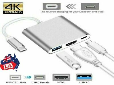 AU19.96 • Buy 3 IN 1 USB 3.1 Type-C USB-C To Female HUB 4K HDMI Data Charging Adapter Cable