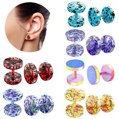 1 Pair Colorful Stainless Steel Fake Ear Plug Stretcher Tunnel Earring Piercing • 2.09£
